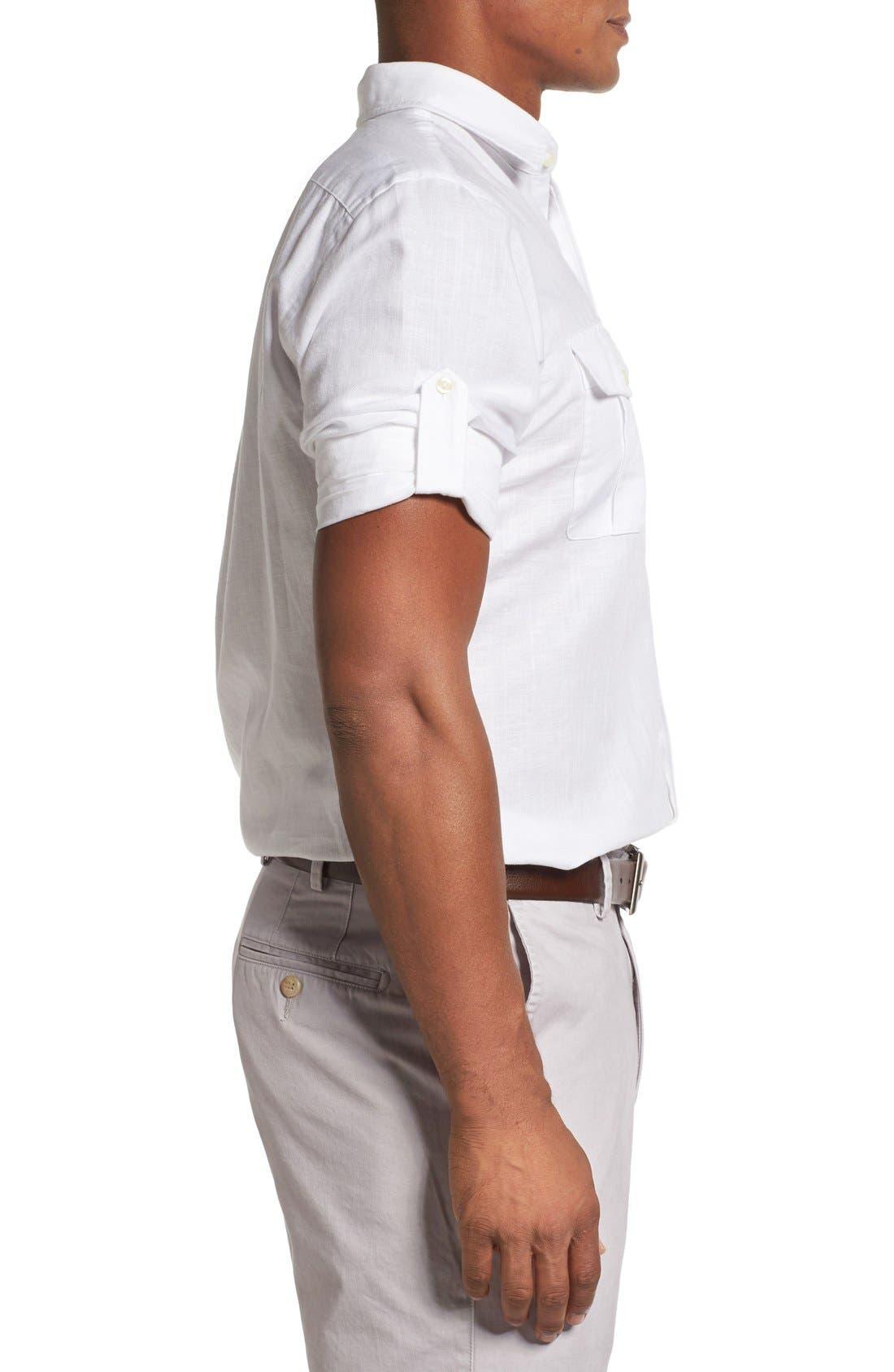 Alternate Image 3  - Peter Millar Harkers Herringbone Regular Fit Sport Shirt