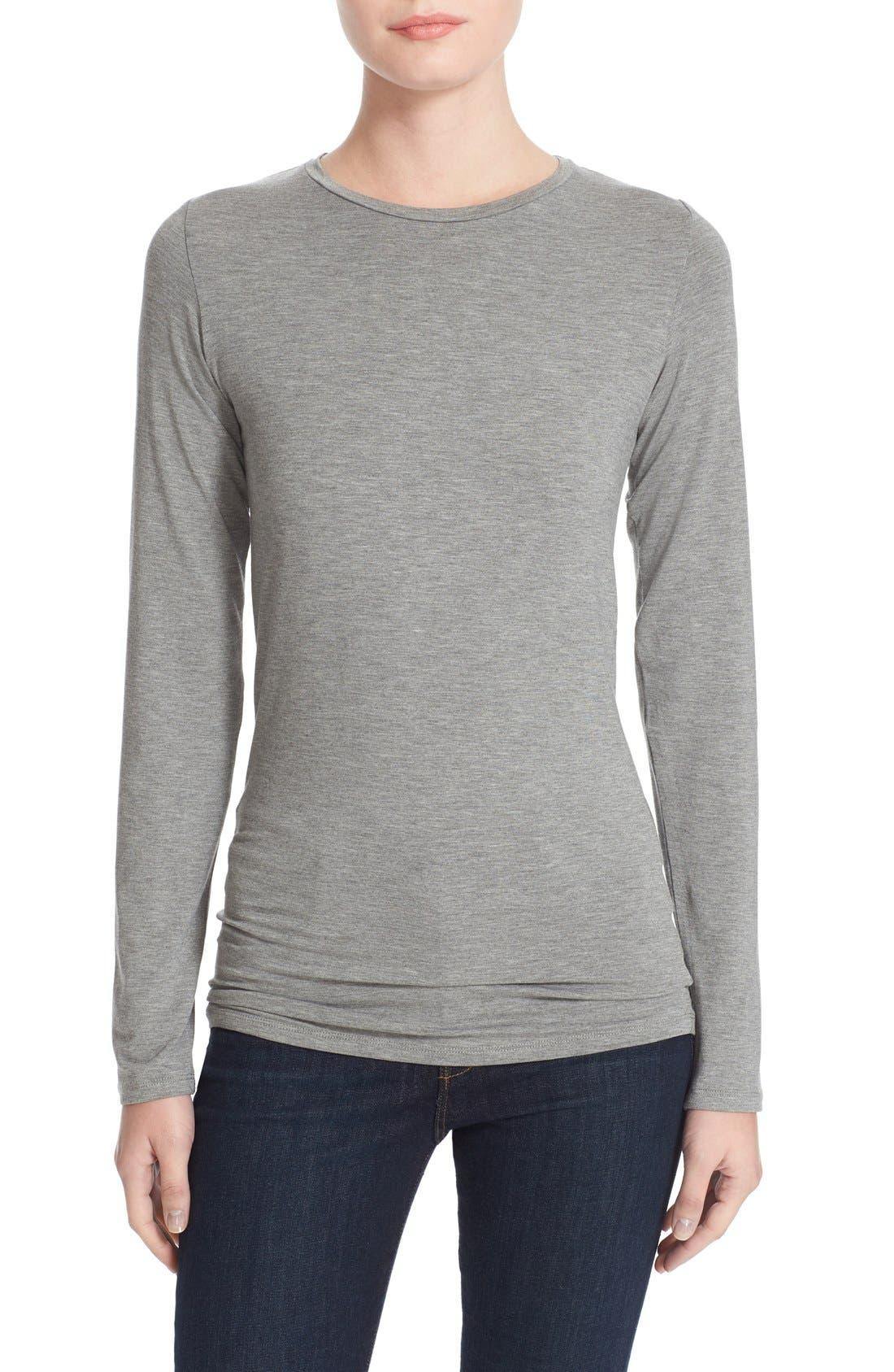 Long Sleeve Crewneck Top,                         Main,                         color, Gris Chine