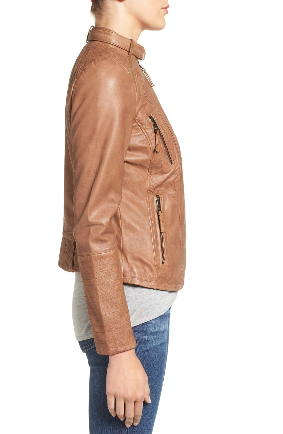 Alternate Image 3  - Bernardo Zip Front Leather Biker Jacket (Regular & Petite)