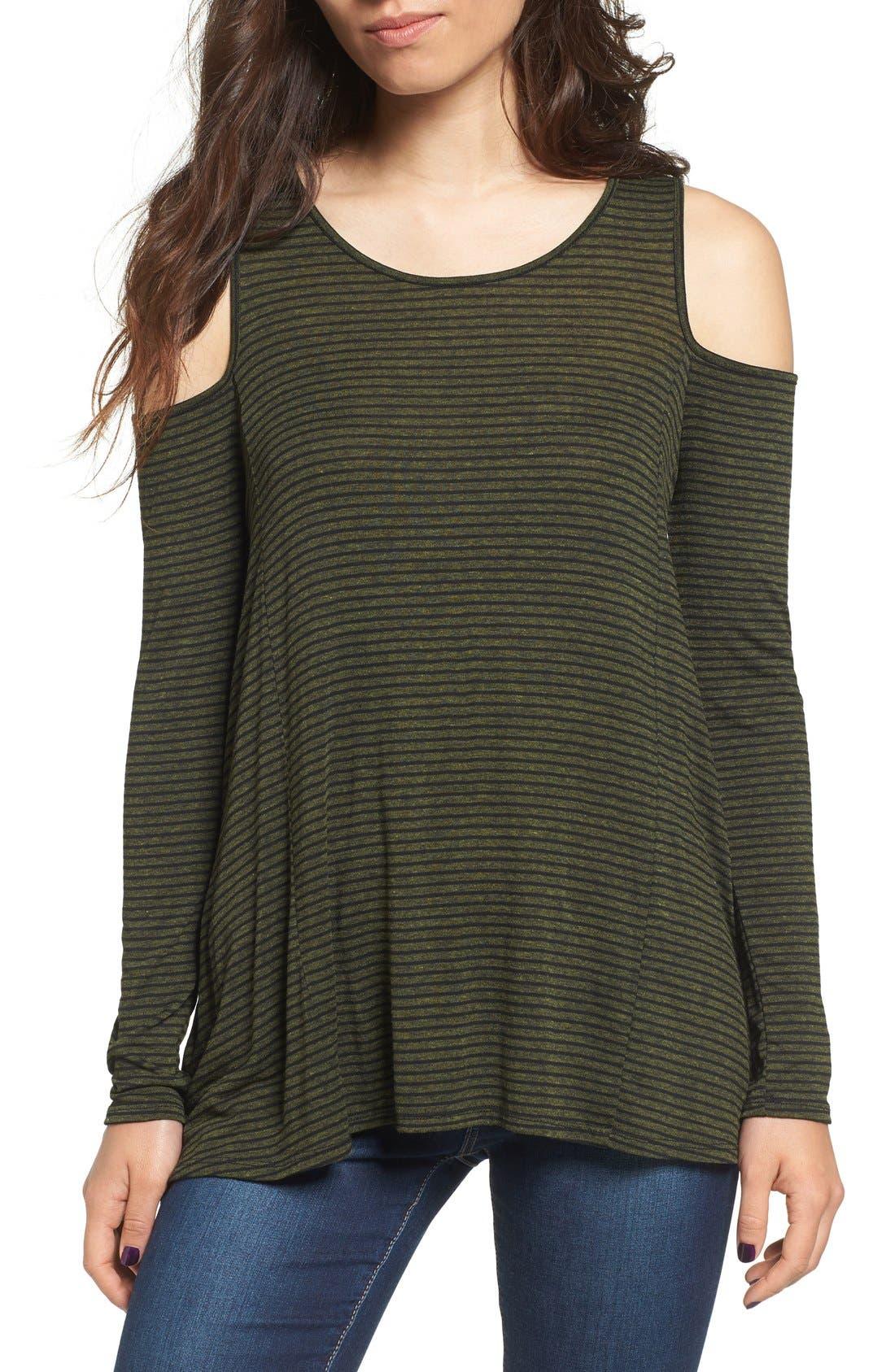 Alternate Image 1 Selected - Lush Stripe Cold Shoulder Top