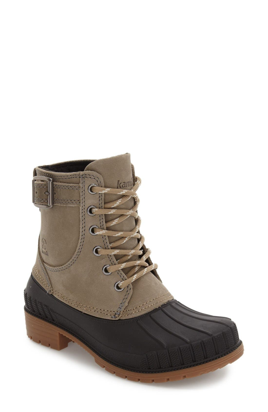 Evelyn Waterproof Boot,                         Main,                         color, Taupe Leather