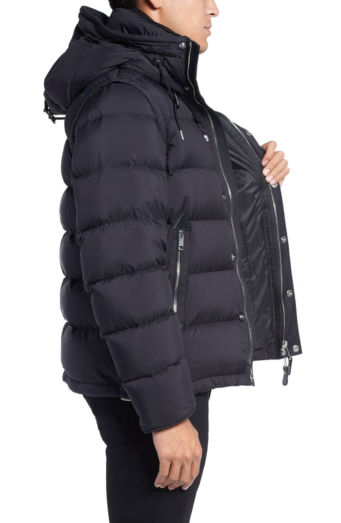 Convertible Quilted Jacket,                             Alternate thumbnail 3, color,                             Black