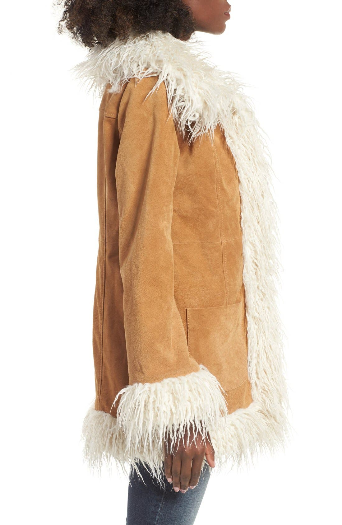 Alternate Image 3  - Sun & Shadow Suede Jacket with Faux Shearling Trim