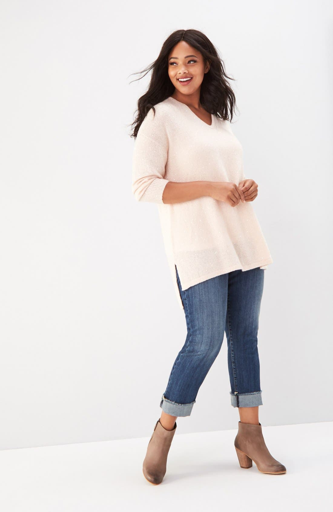 Sejour Sweater, Tank & KUT from the Kloth Jeans Outfit with Accessories (Plus Size)