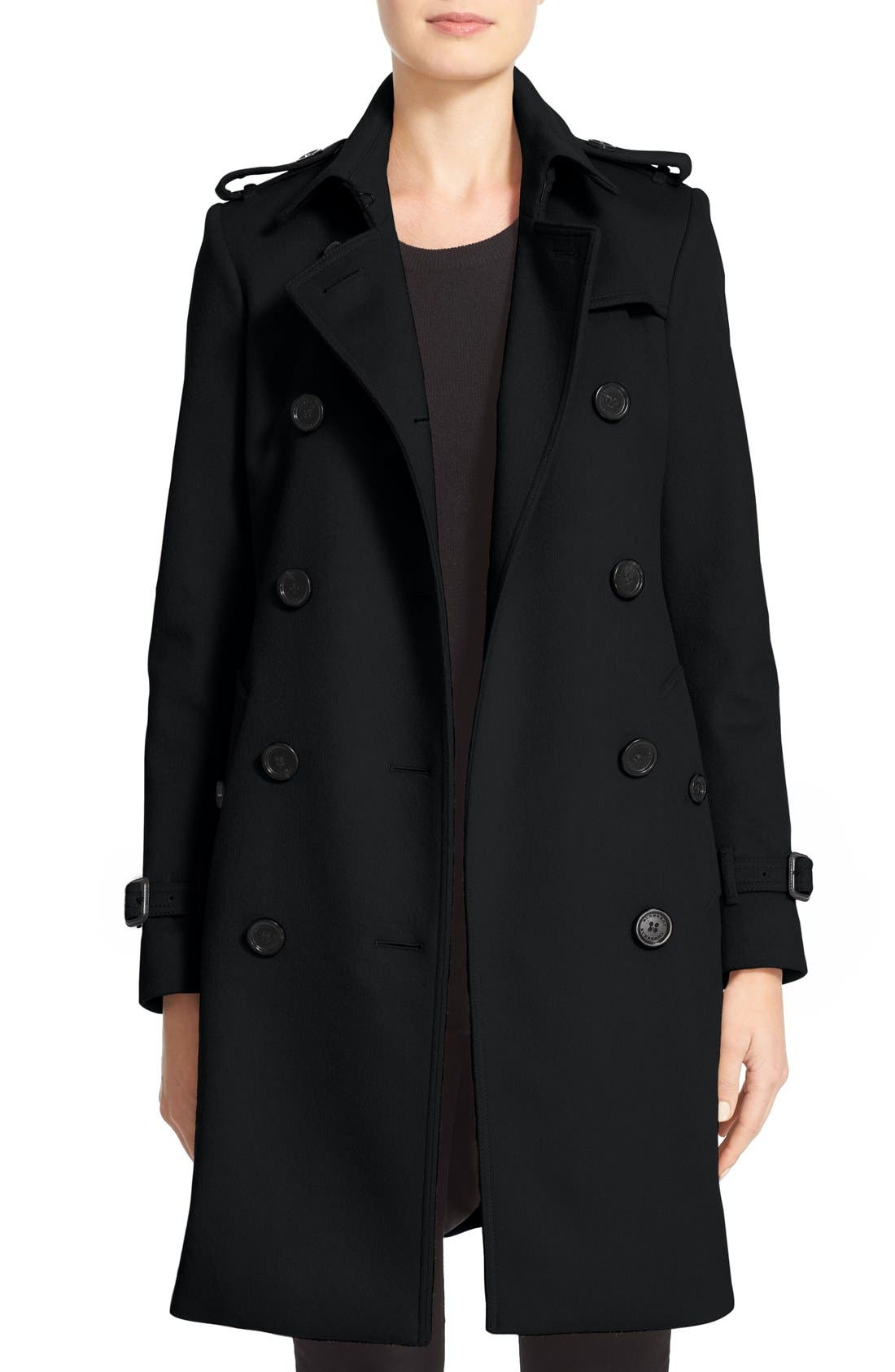 Kensington Double Breasted Wool & Cashmere Trench Coat,                             Main thumbnail 1, color,                             Black