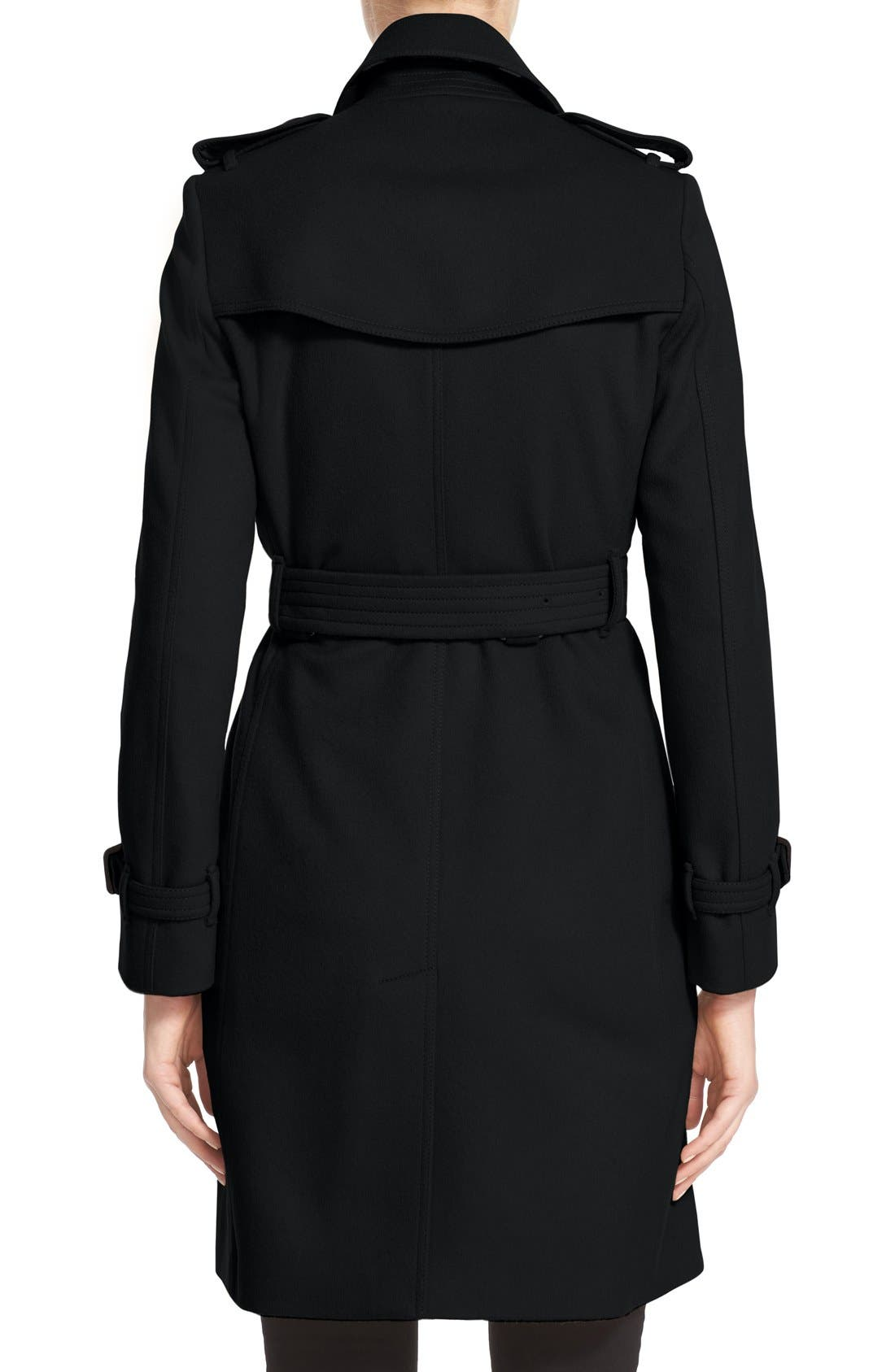Kensington Double Breasted Wool & Cashmere Trench Coat,                             Alternate thumbnail 2, color,                             Black
