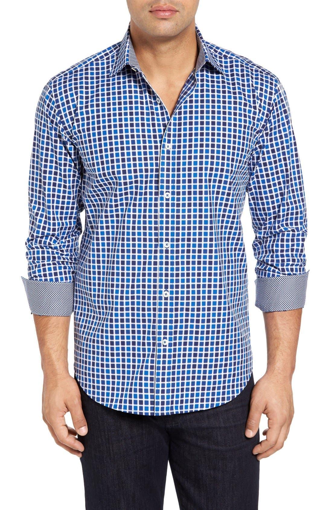Shaped Fit Check Sport Shirt,                             Main thumbnail 1, color,                             Navy