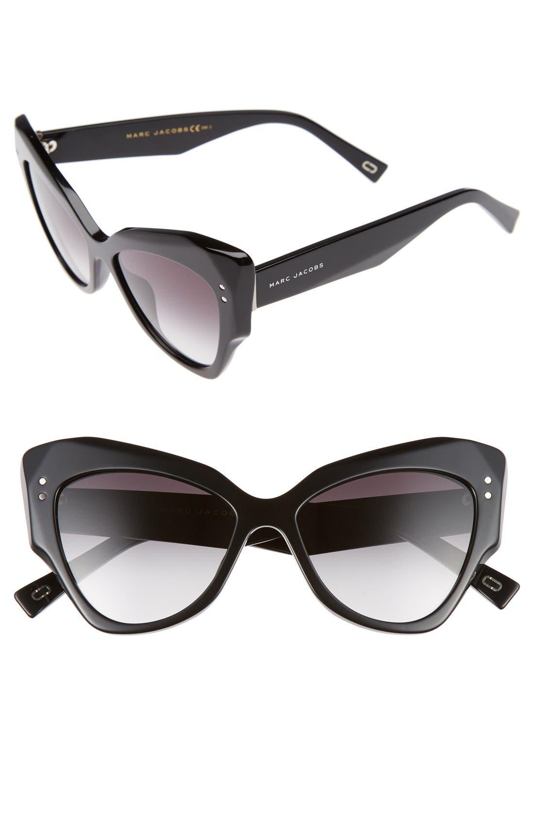 52mm Cat Eye Sunglasses,                             Main thumbnail 1, color,                             Black