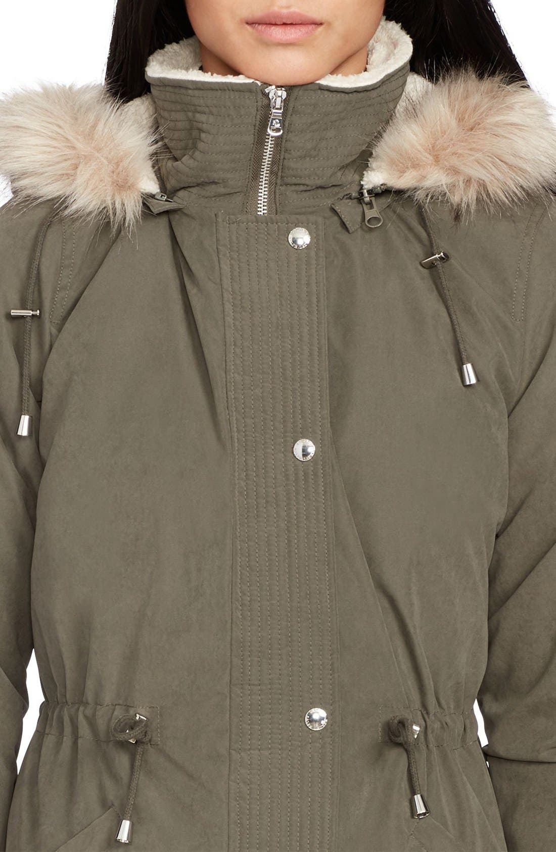 Alternate Image 3  - Lauren Ralph Lauren Faux Fur & Faux Shearling Trim Hooded Down Anorak
