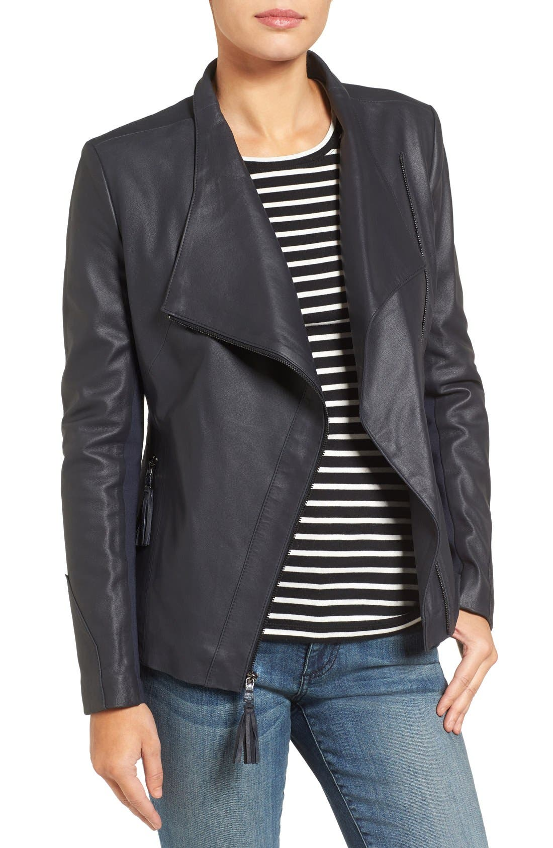 Asymmetrical Leather Jacket,                         Main,                         color, Navy