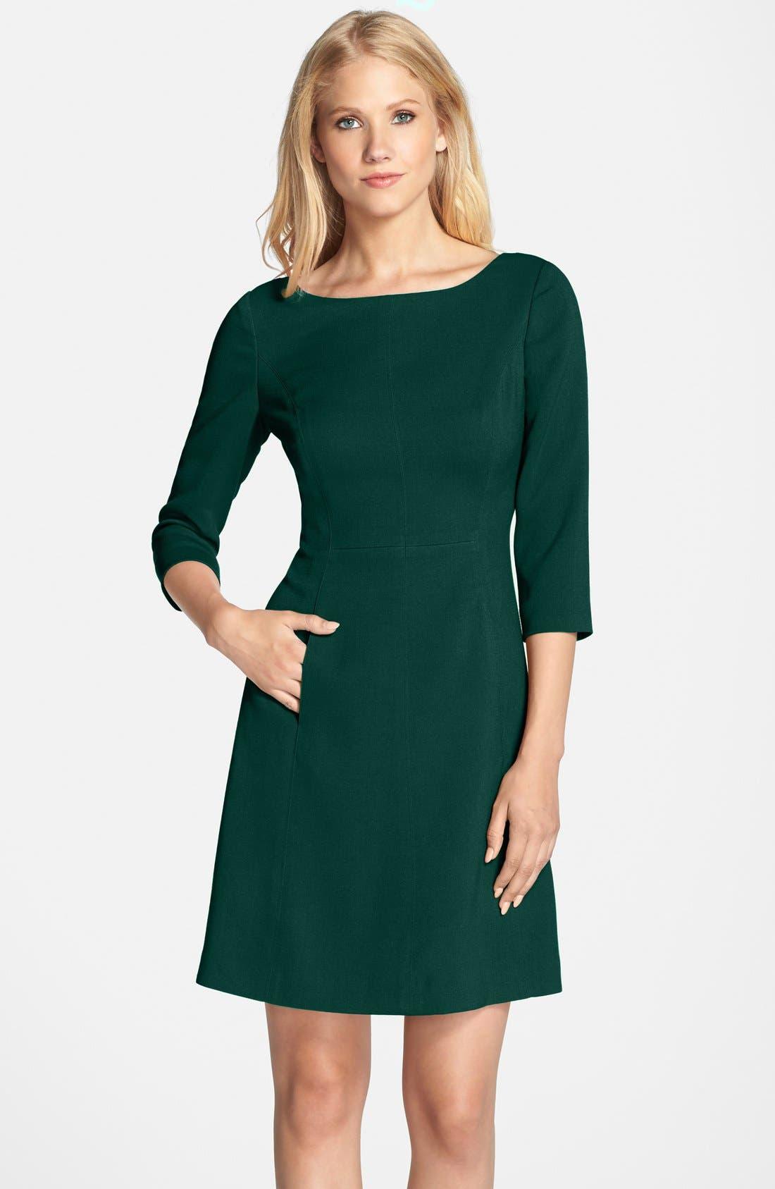 Alternate Image 1 Selected - Vince Camuto Crepe A-Line Dress (Regular & Petite)