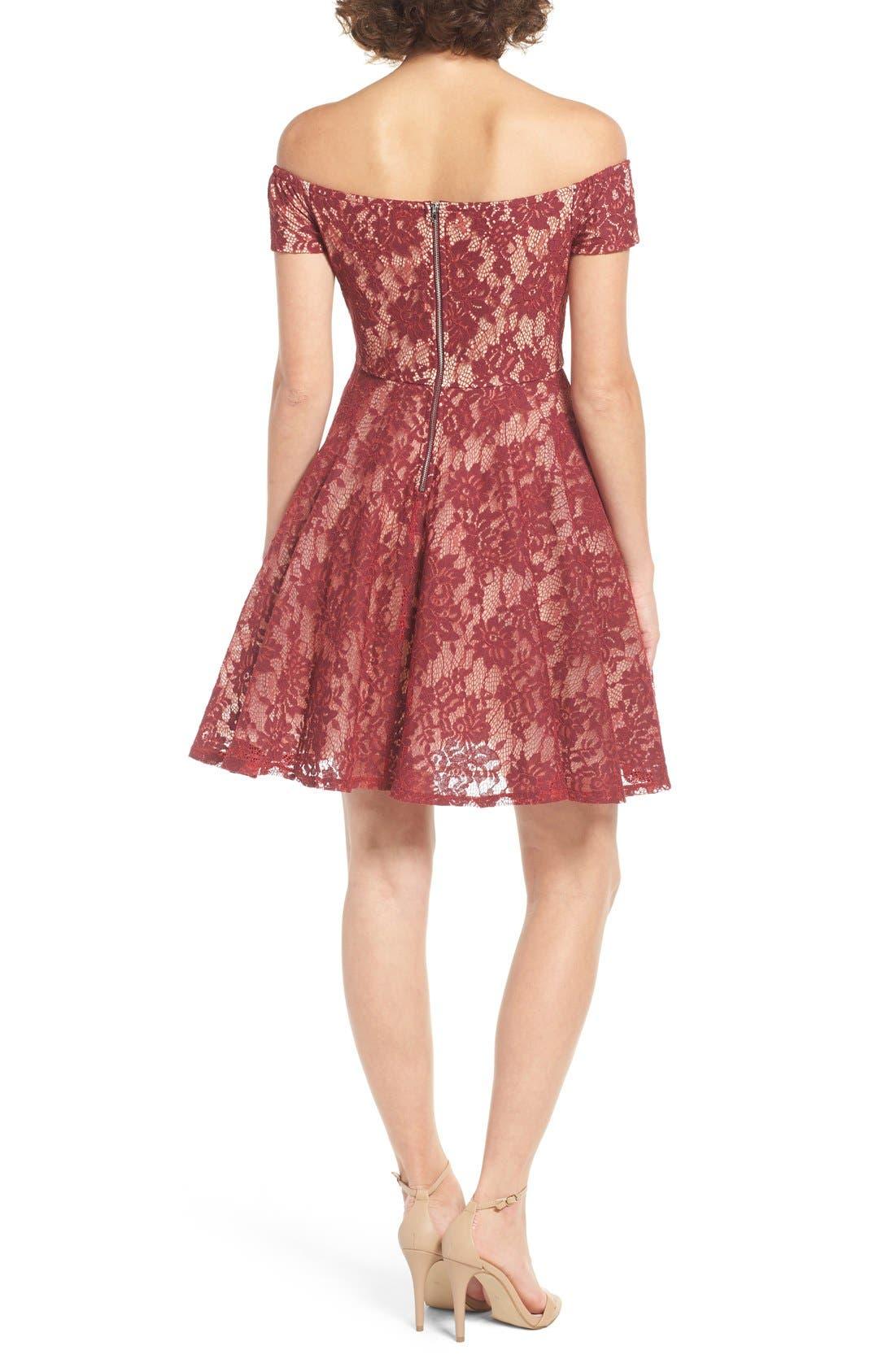 Alternate Image 2  - Soprano Lace Off the Shoulder Fit & Flare Dress