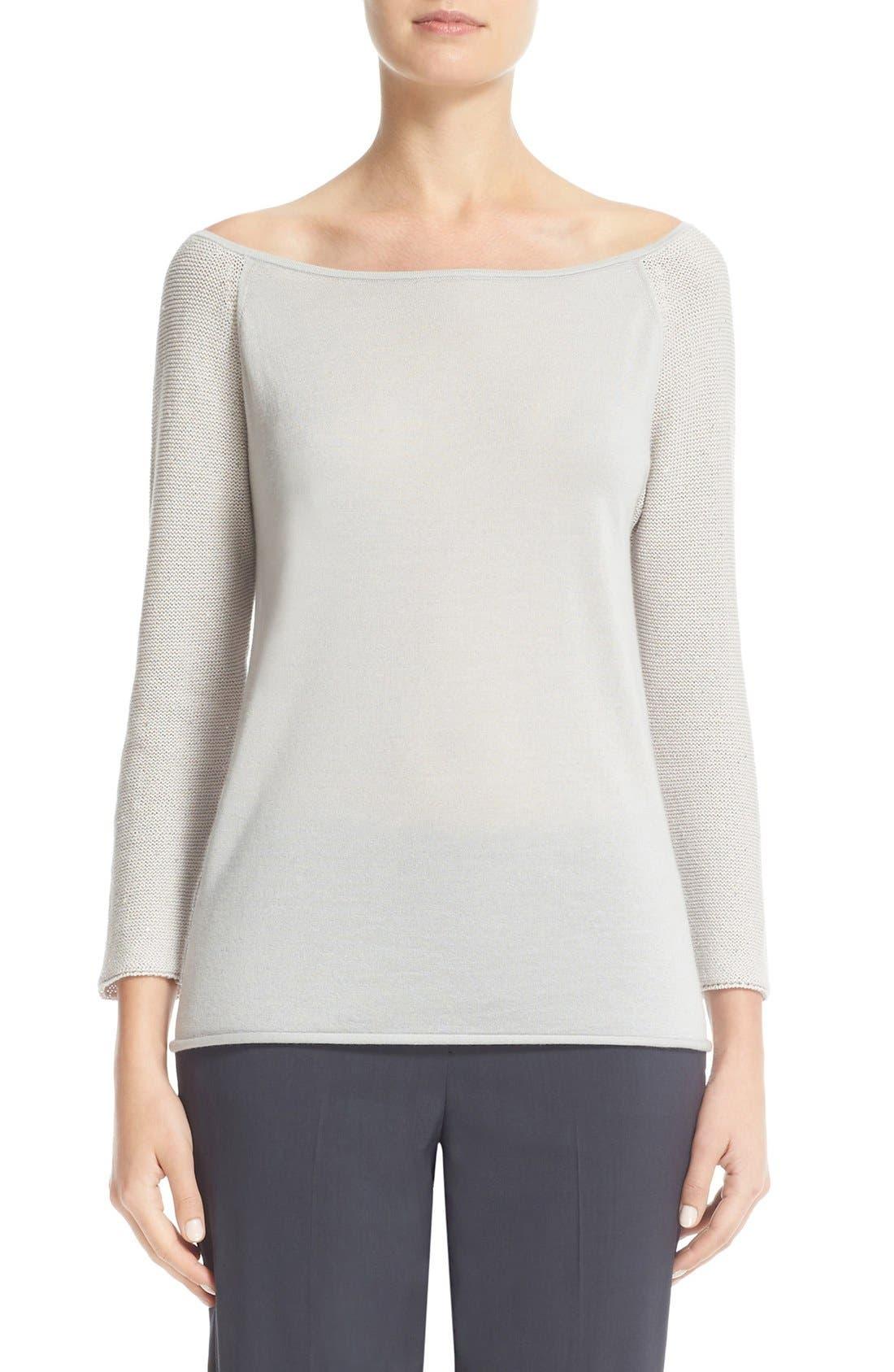 Fabiana Filippi Sequin Sleeve Cashmere & Silk Top