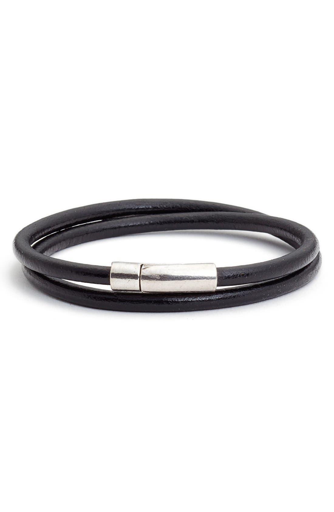Leather Wrap Bracelet,                         Main,                         color, Black