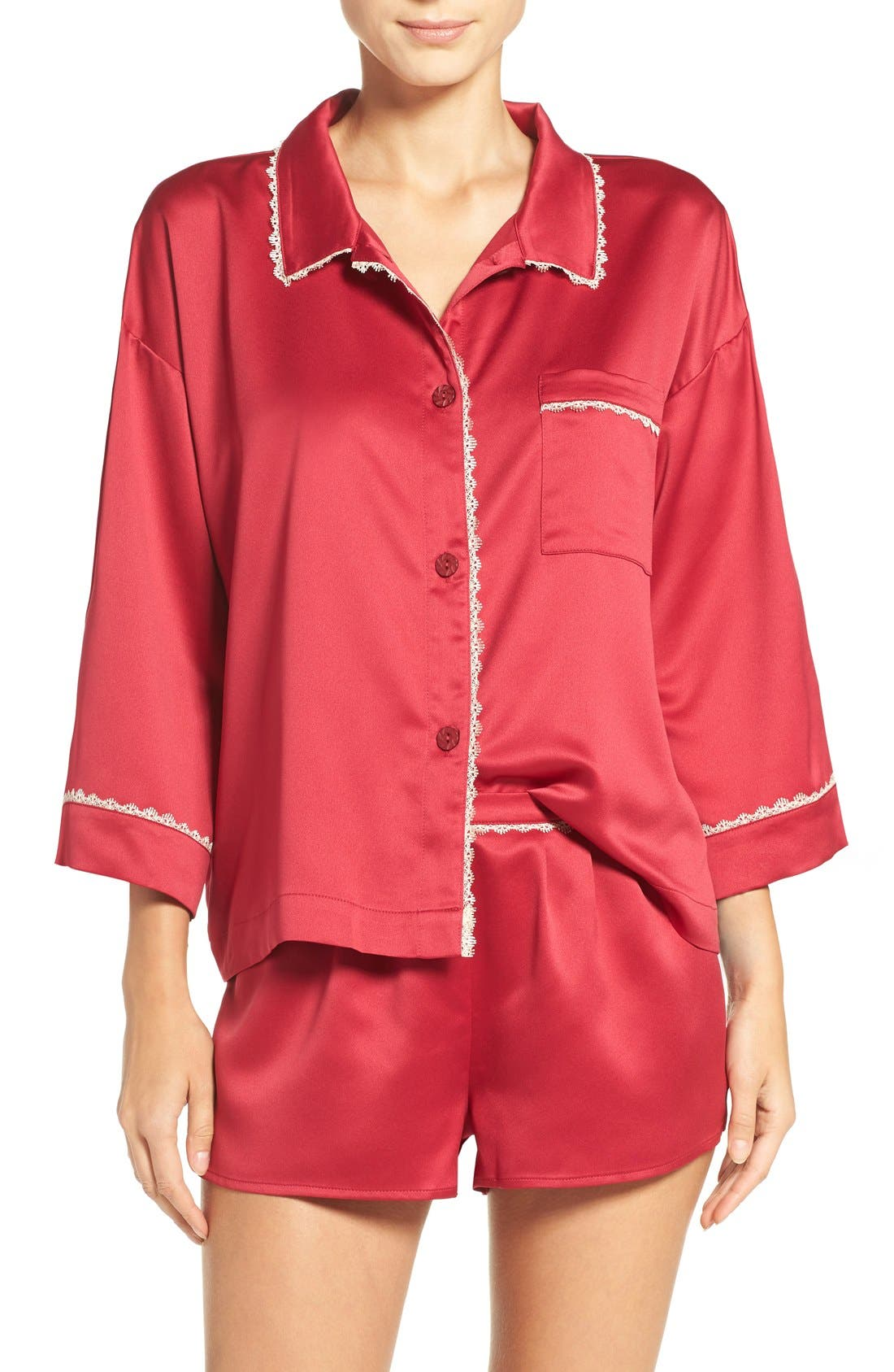 Wisteria Satin Pajamas,                         Main,                         color, Cranberry