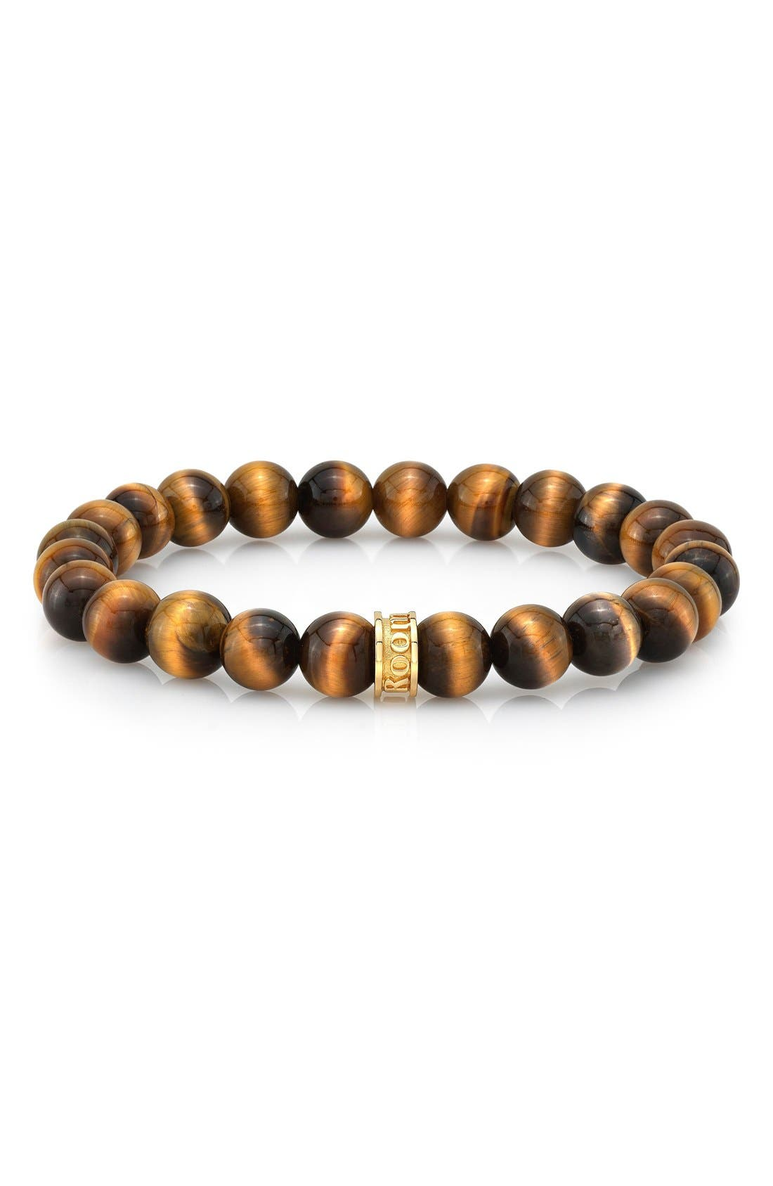 Tiger's Eye Bead Bracelet,                             Main thumbnail 1, color,                             Brown