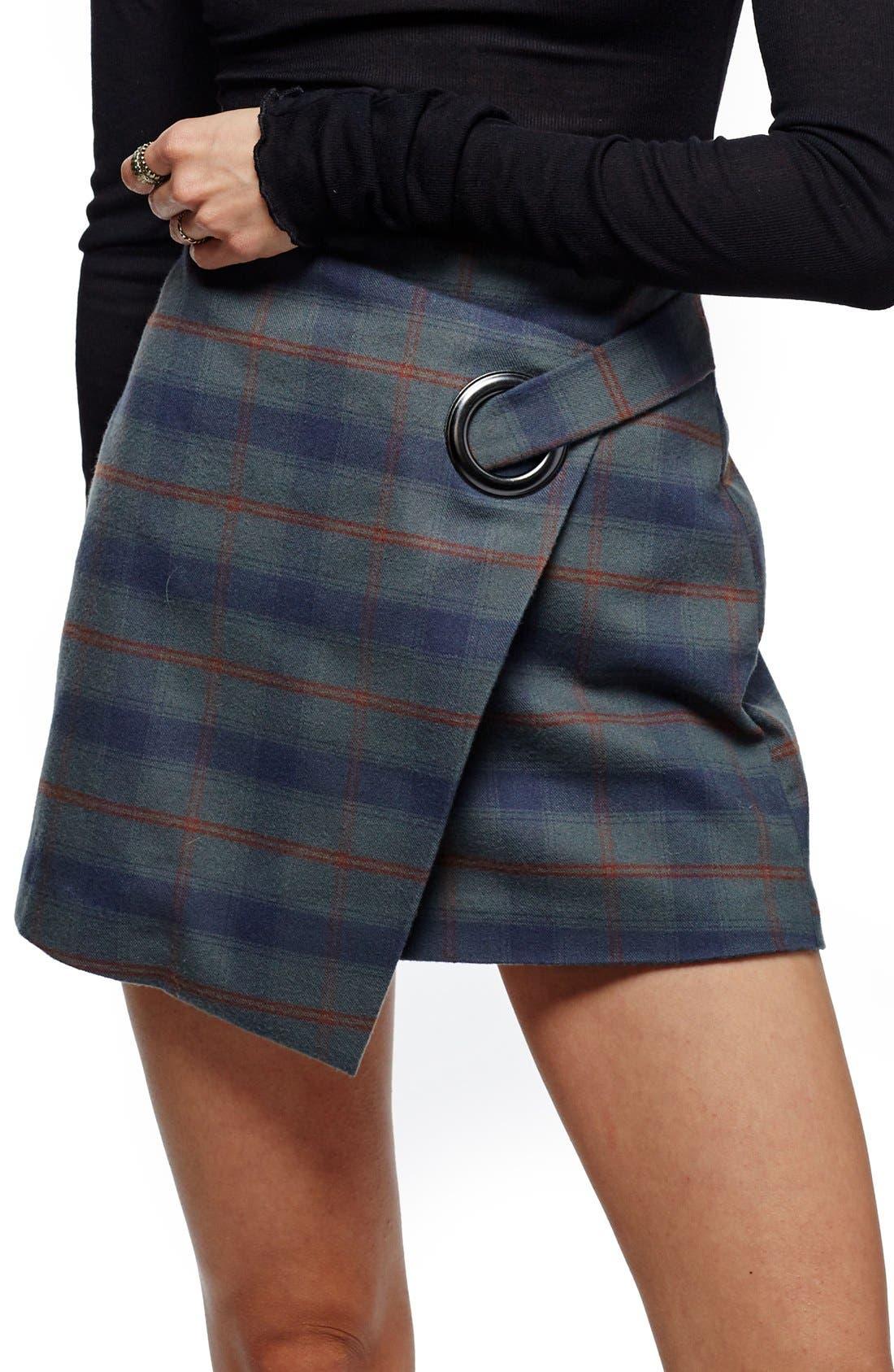 Alternate Image 1 Selected - Free People Teenage Crush Plaid Miniskirt