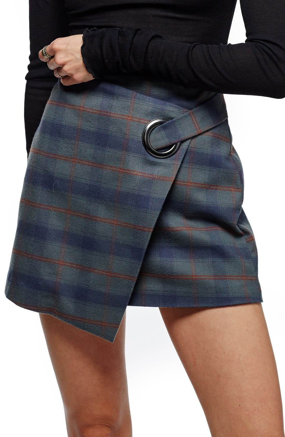 Main Image - Free People Teenage Crush Plaid Miniskirt