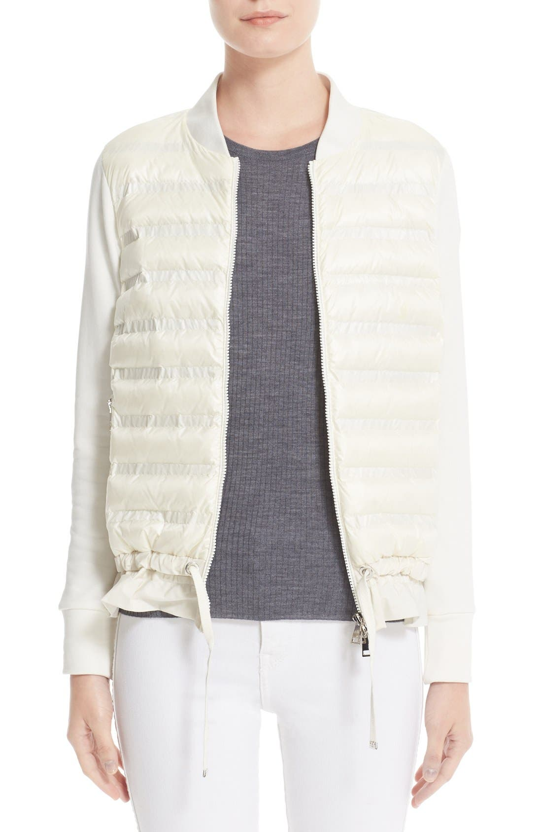 Maglia Quilted Down Front Tricot Bomber,                         Main,                         color, Natural