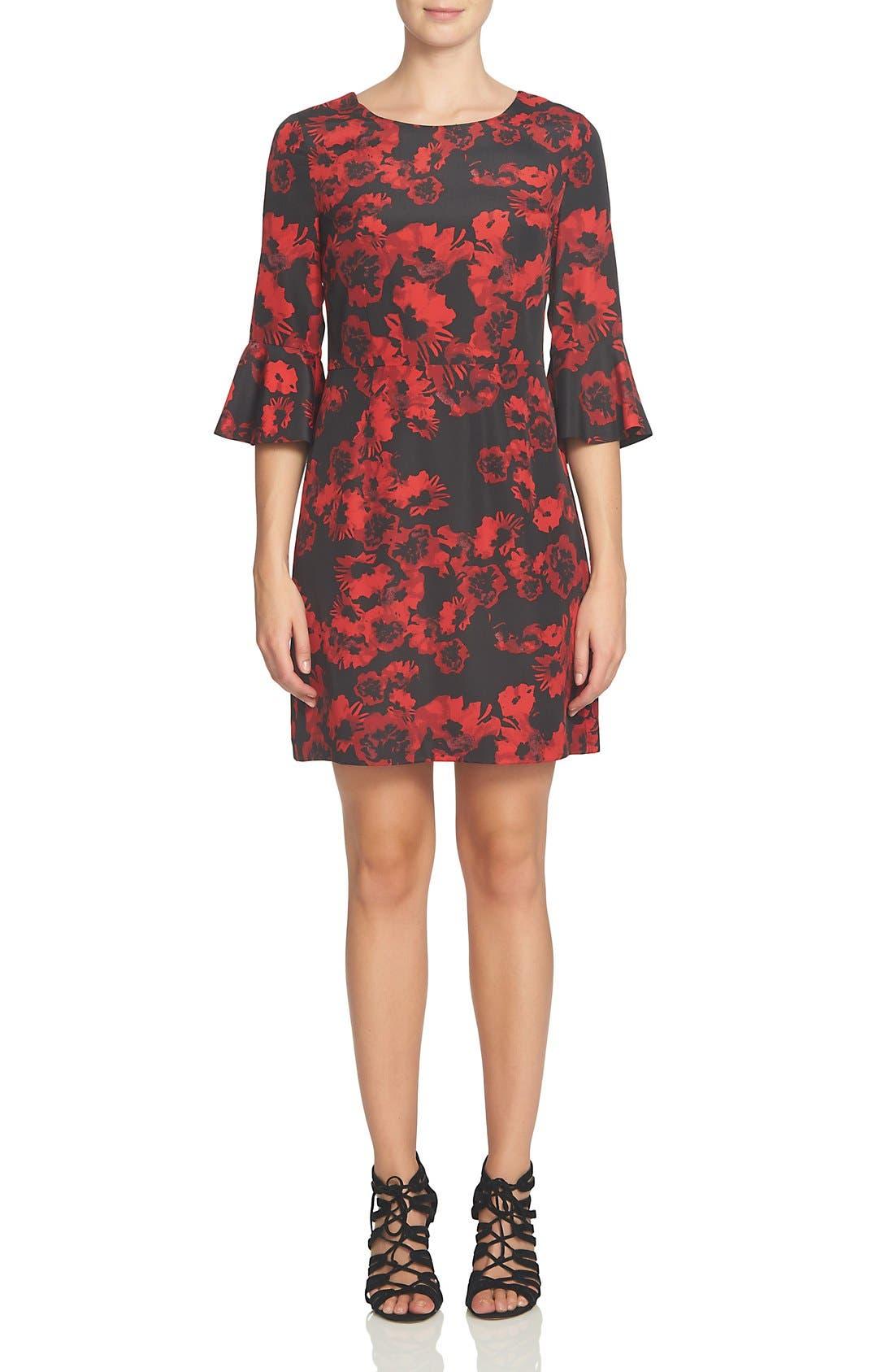 Ava Print Sheath Dress,                             Alternate thumbnail 3, color,                             Rich Black