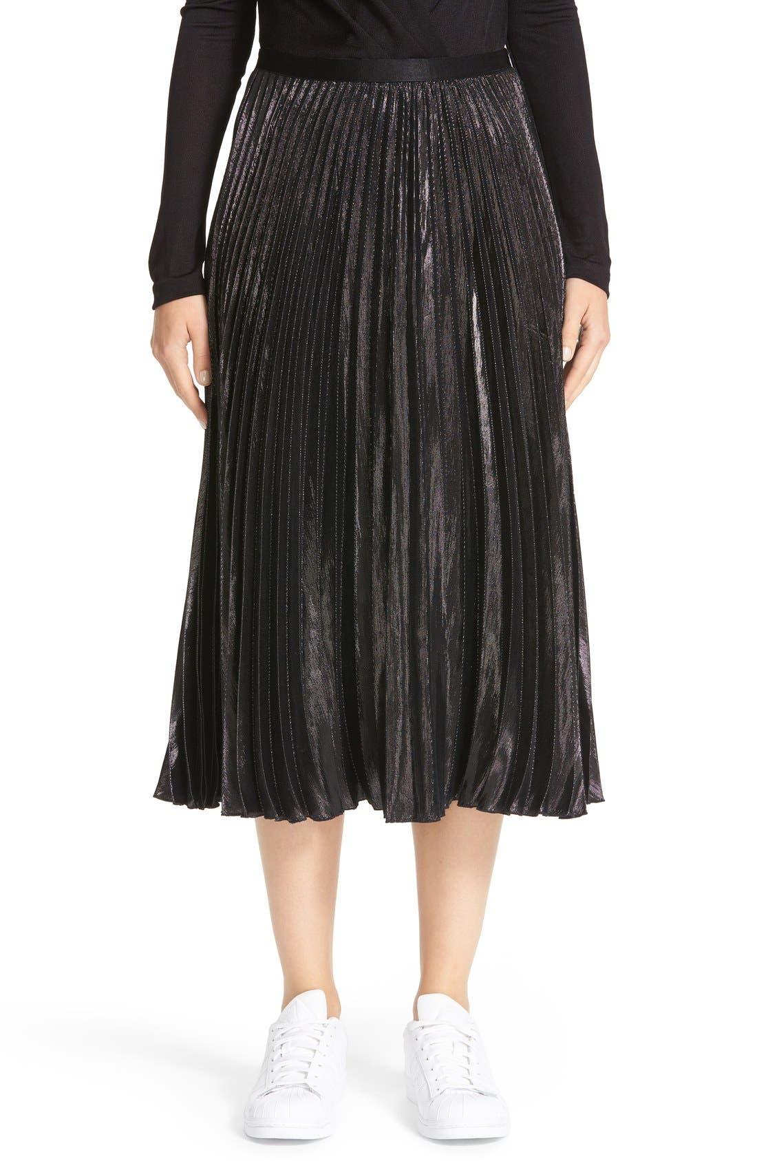 Alternate Image 1 Selected - Diane von Furstenberg Heavyn Metallic Pleated Midi Skirt