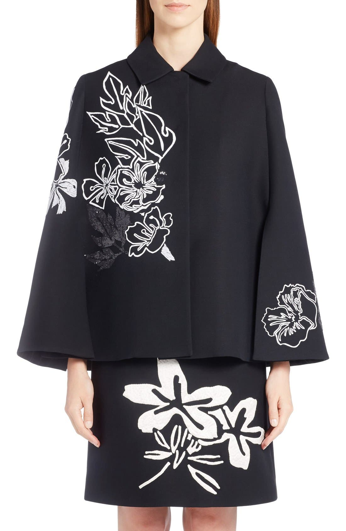 Main Image - Fendi Floral Embroidered Wool & Silk Cape