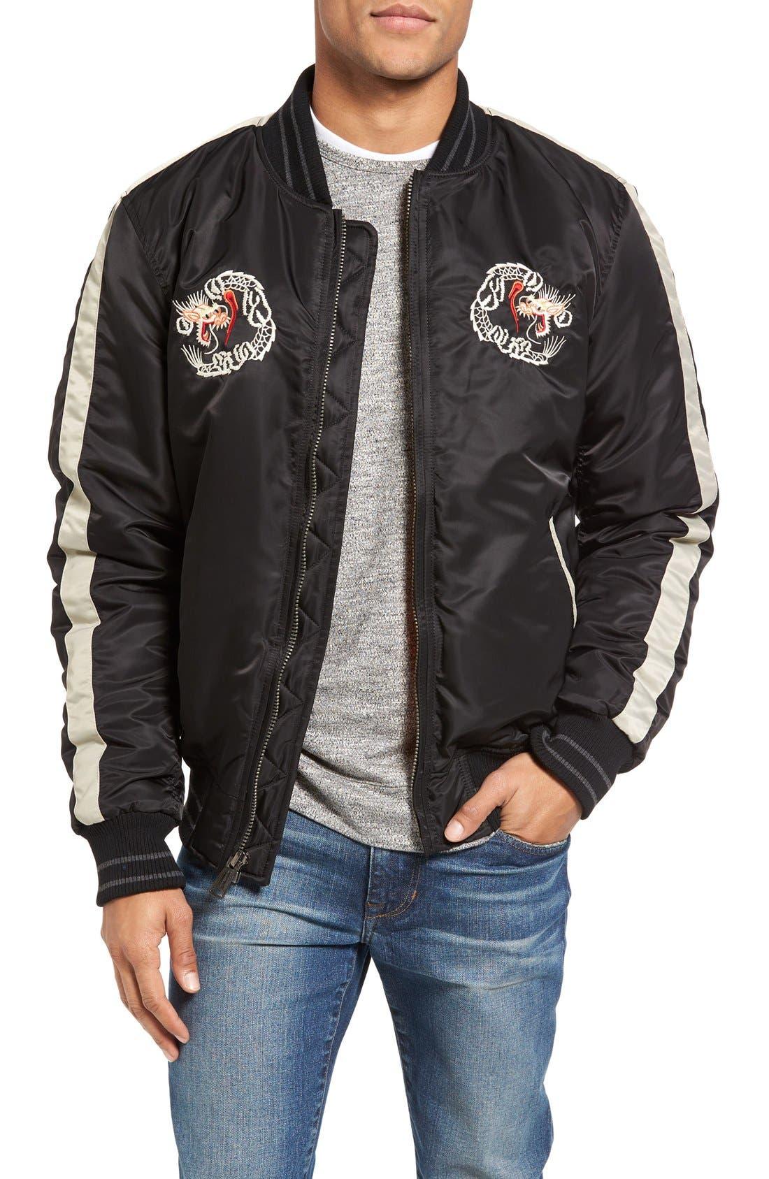 Nylon Souvenir Flight Jacket,                             Main thumbnail 1, color,                             Black