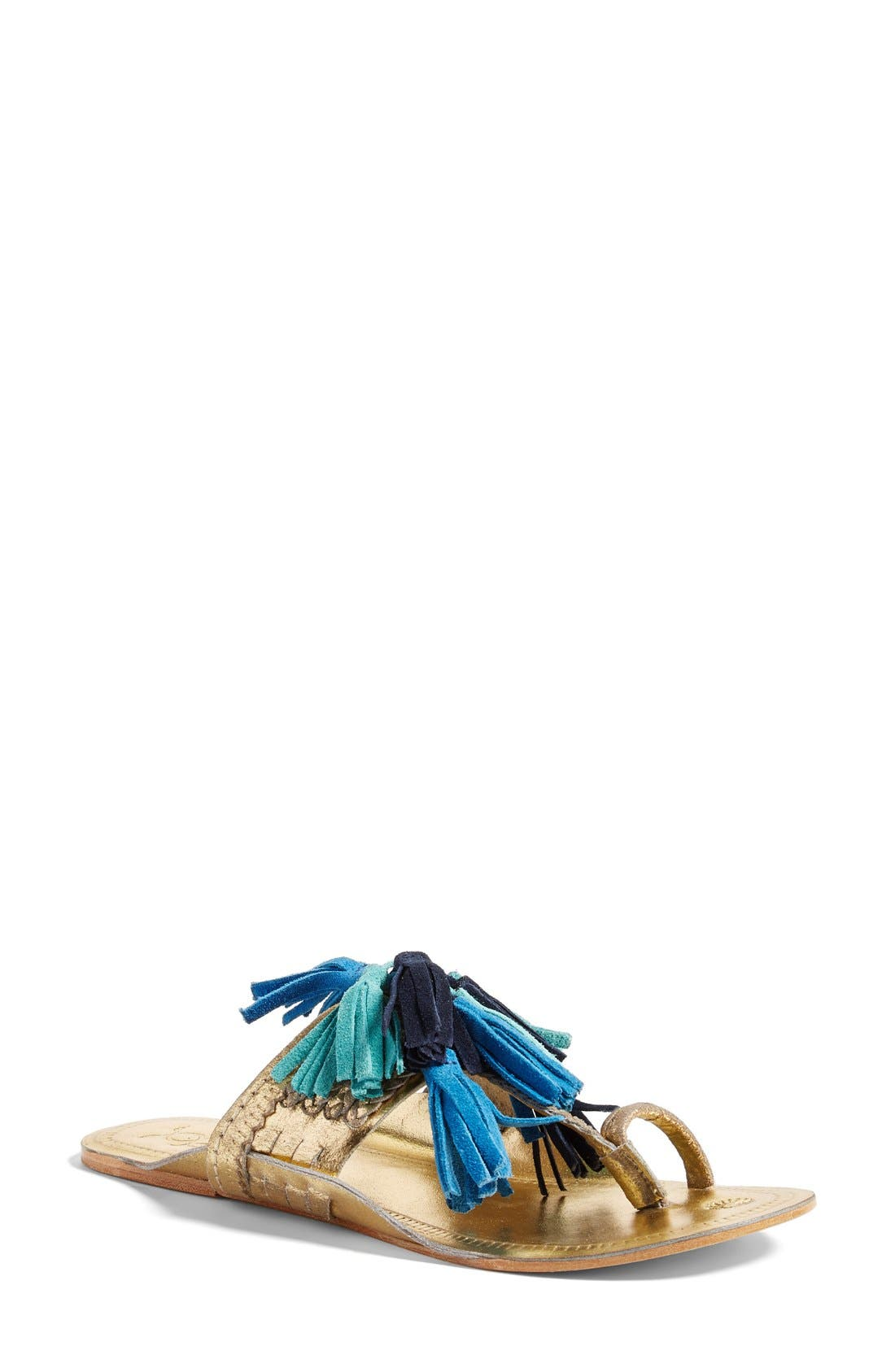 Scaramouch Tassel Sandal,                         Main,                         color, Blue Multi/ Gold