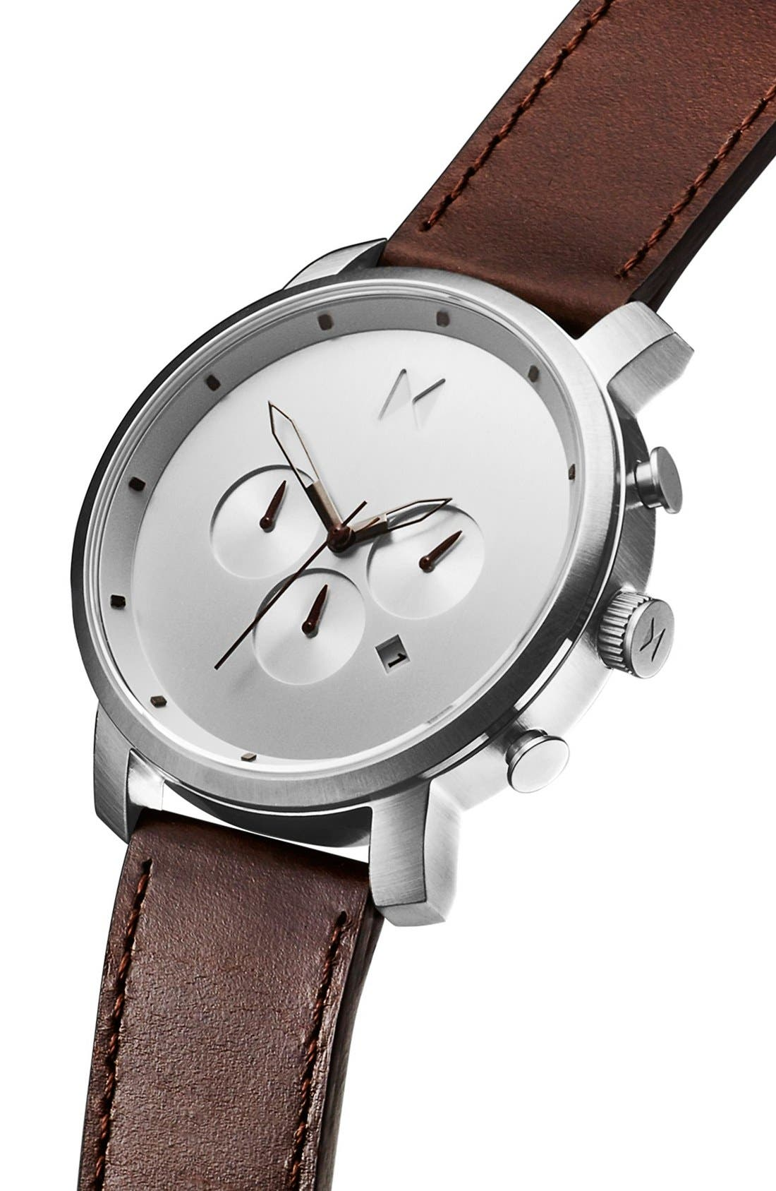 Alternate Image 3  - MVMT Chronograph Leather Strap Watch, 45mm