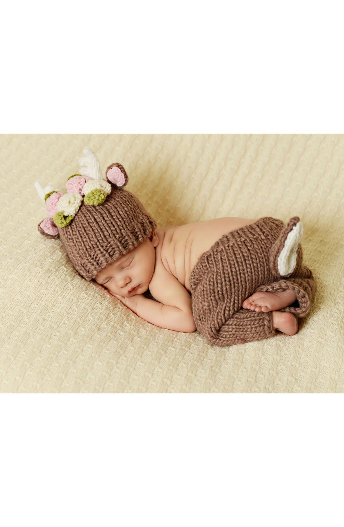 Blueberry Hill 'Hartley - Deer with Flowers' Knit Hat & Pants Set,                         Main,                         color, Brown
