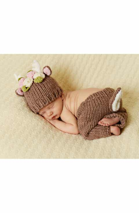 Baby girl gifts nordstrom blueberry hill hartley deer with flowers knit hat pants negle Gallery