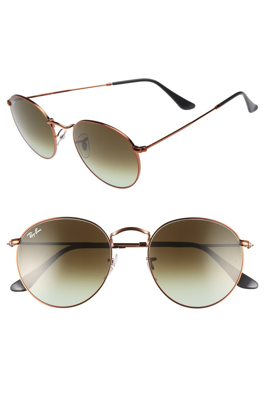 Icons 53mm Retro Sunglasses,                         Main,                         color, Green/ Brown
