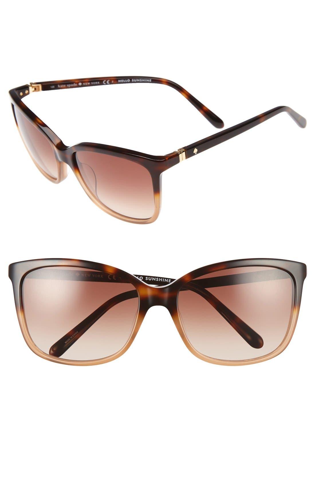 kasie 55mm cat eye sunglasses,                         Main,                         color, Havana/ Nude