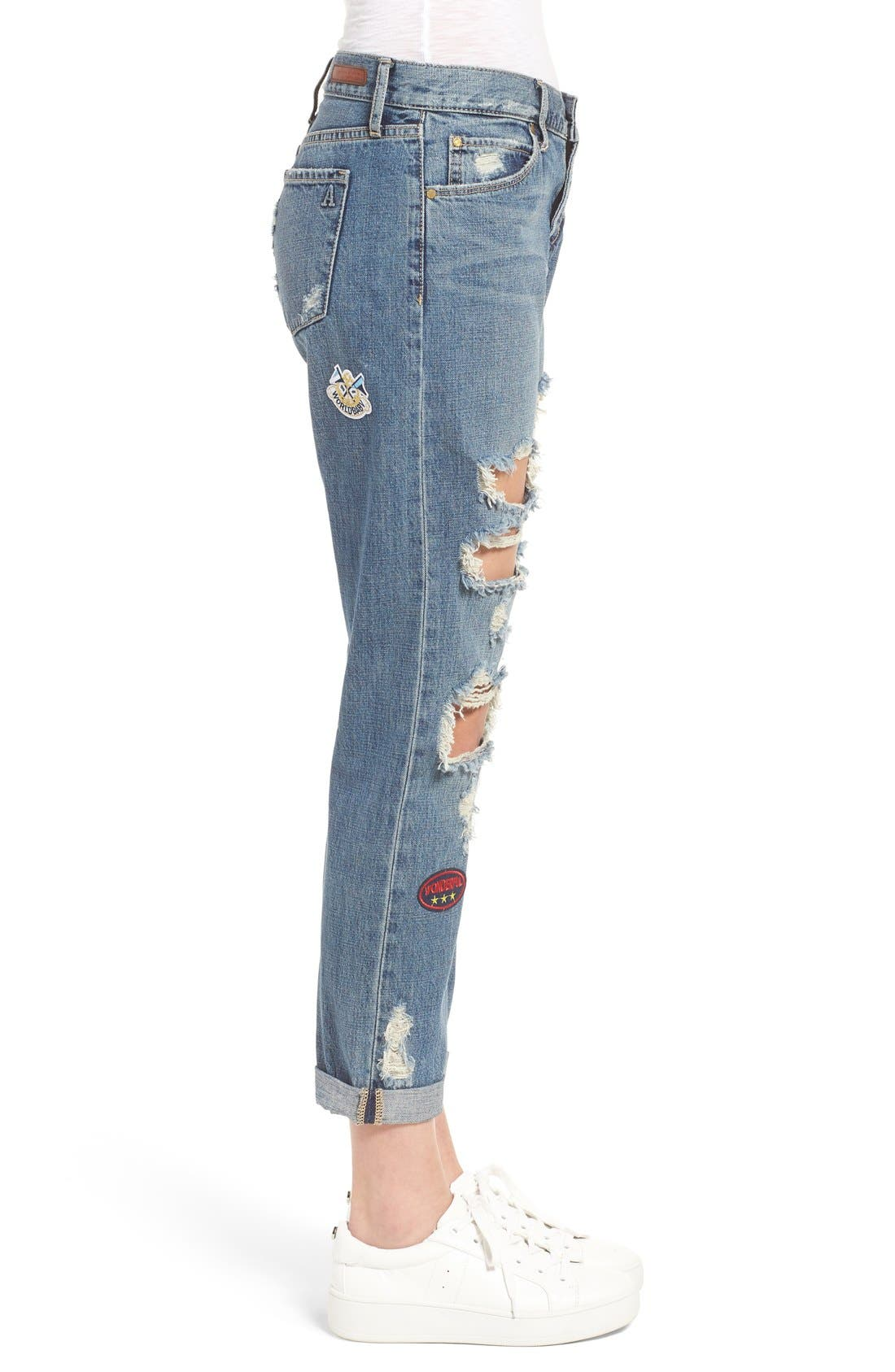 Alternate Image 4  - Articles of Society Janis Destroyed Boyfriend Jeans with Patches