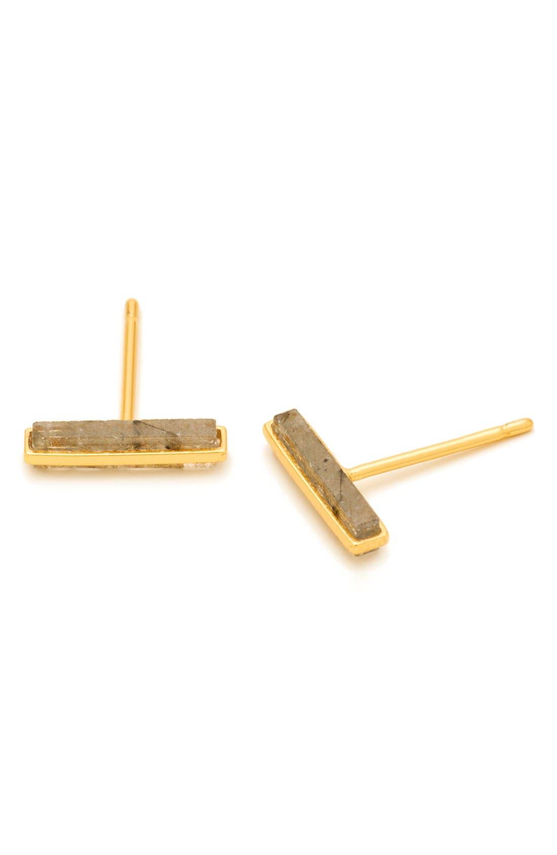 Dez Bar Stud Earrings,                             Main thumbnail 1, color,                             Labradorite/ Gold