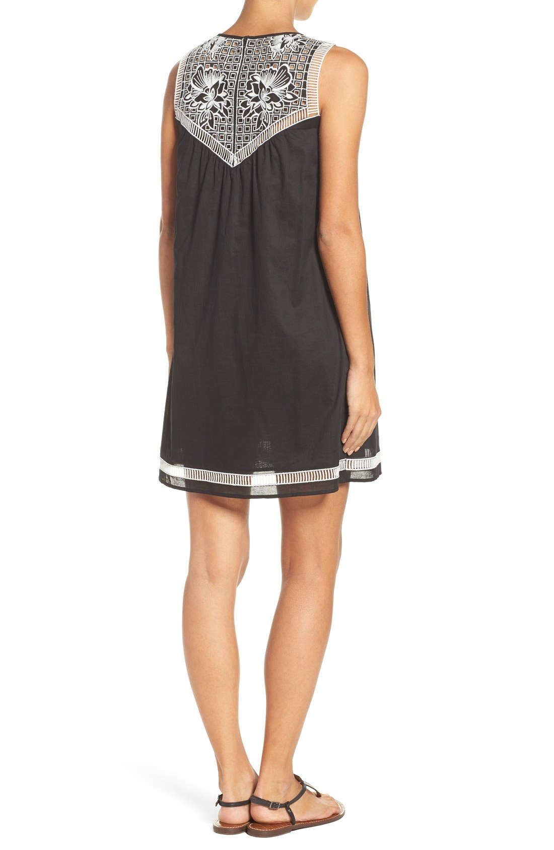 Alternate Image 2  - Tory Burch Embroidered Yoke Cover-Up Dress