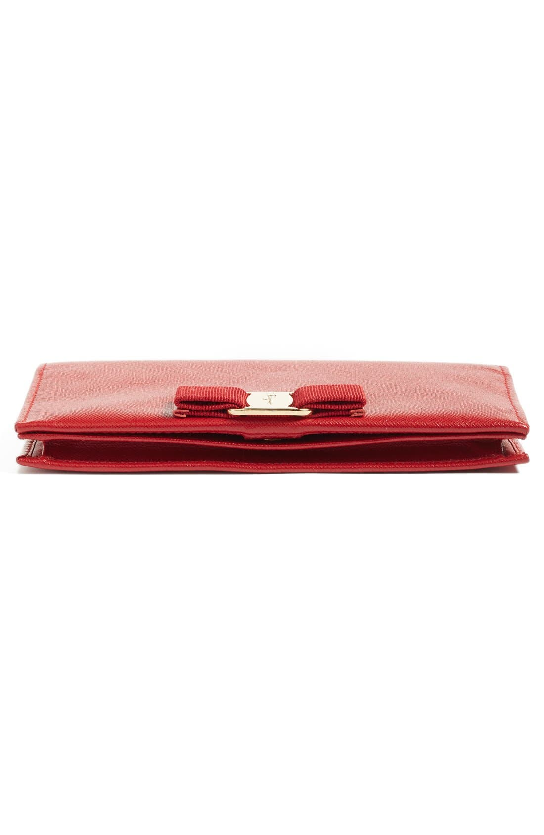 Salavatore Ferragamo Vara Leather Wallet on a Chain,                             Alternate thumbnail 6, color,                             Red