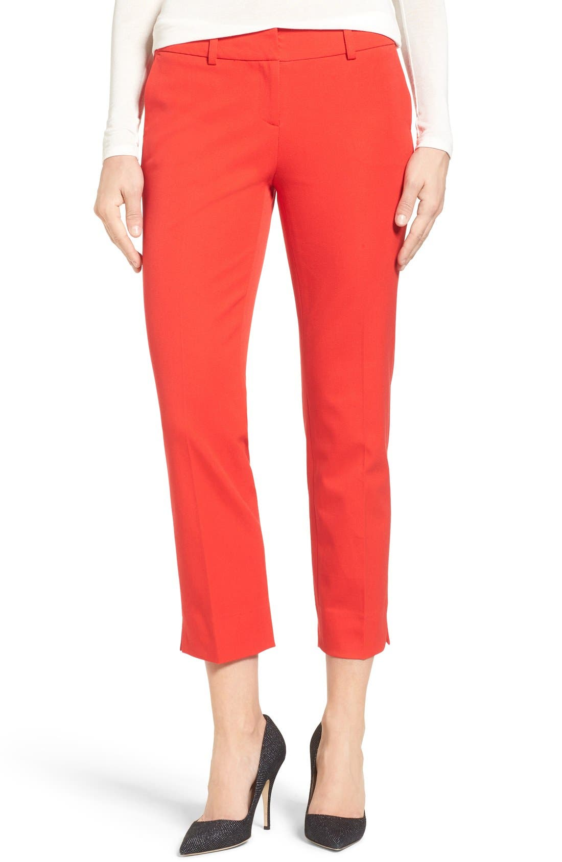 Crop Stretch Cotton Pants,                         Main,                         color, Red Bloom