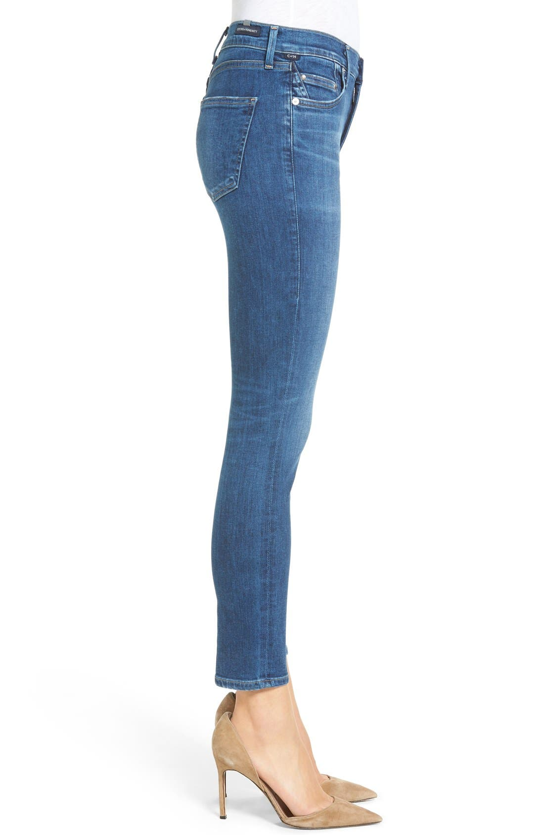 Rocket High Waist Crop Skinny Jeans,                             Alternate thumbnail 3, color,                             Echoes