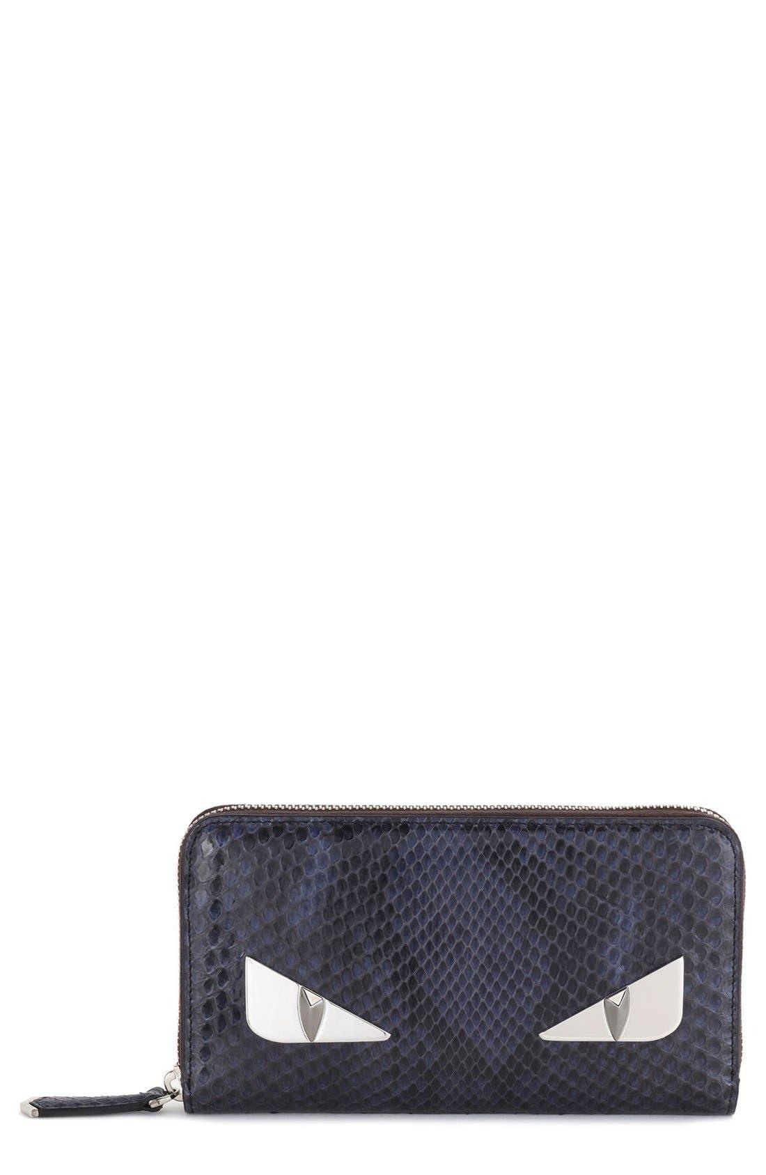 FENDI Genuine Python Zip Around Wallet