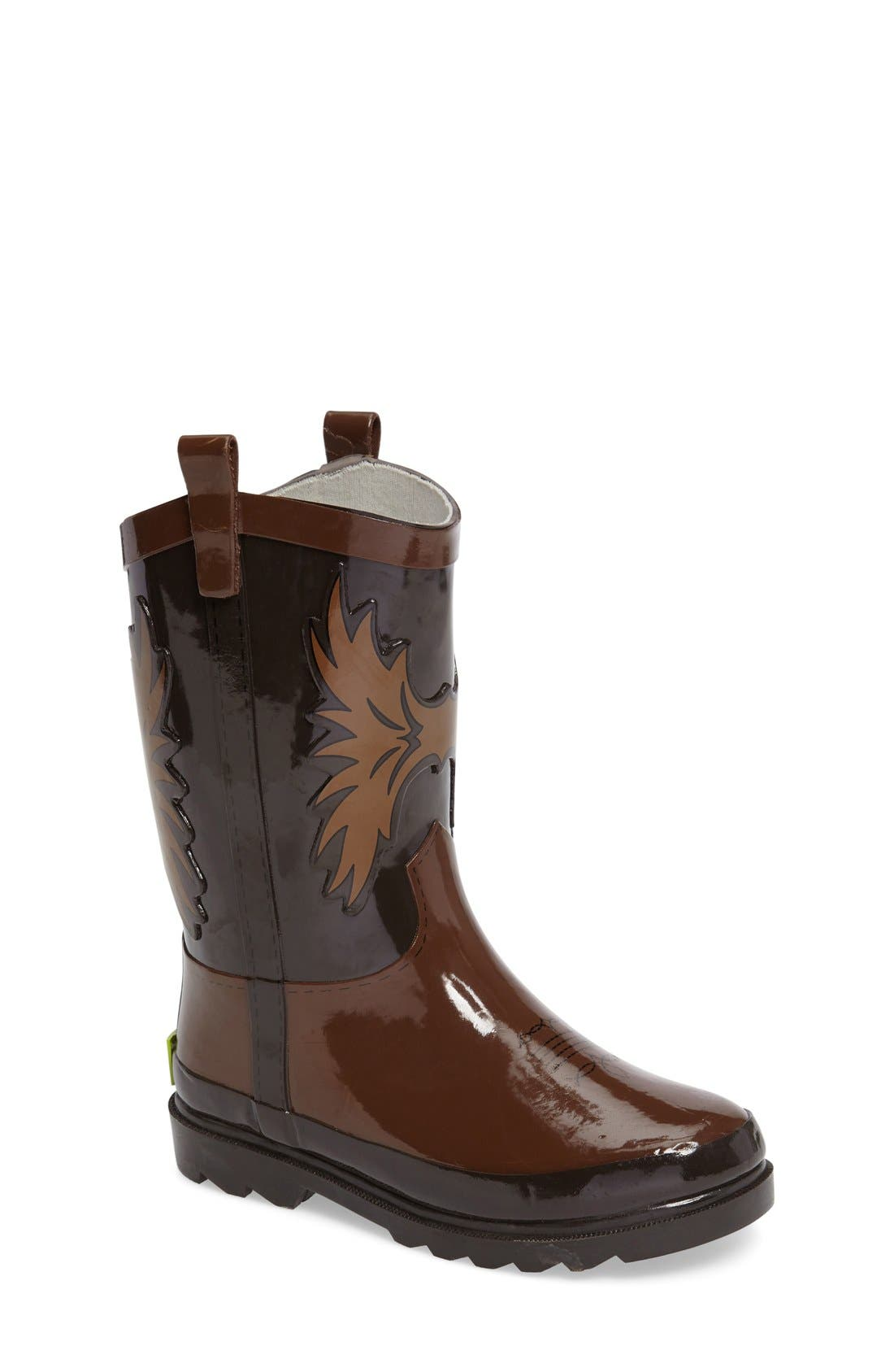 Cowboy Waterproof Rain Boot,                             Main thumbnail 1, color,                             Brown