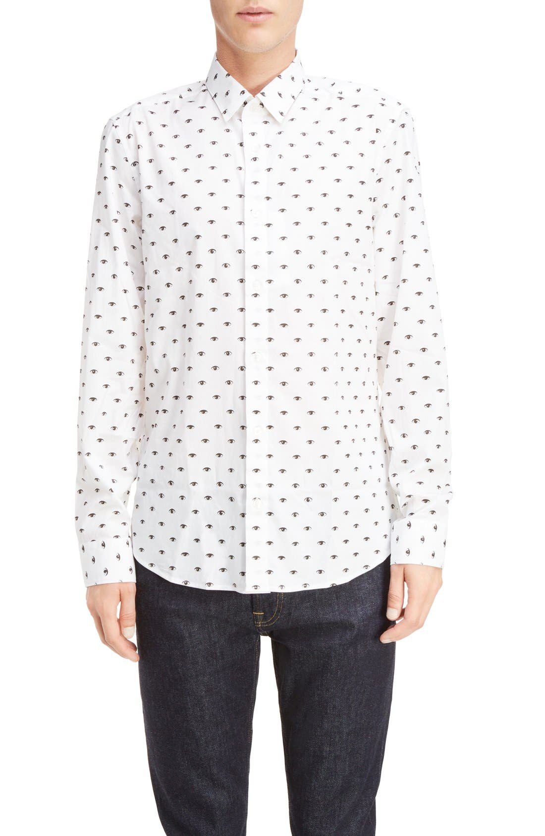 Eye Print Shirt,                         Main,                         color, White
