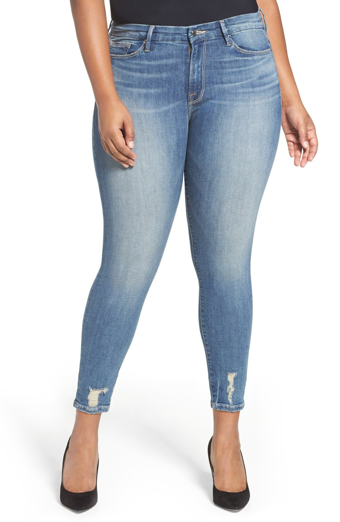 Good Legs High Rise Crop Skinny Jeans,                             Alternate thumbnail 6, color,                             Blue 010