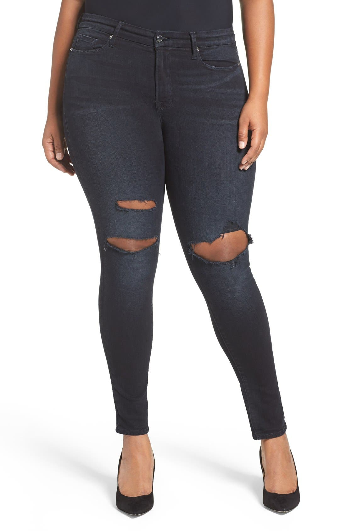 Alternate Image 9  - Good American Good Legs High Rise Ripped Skinny Jeans (Blue 001) (Extended Sizes)
