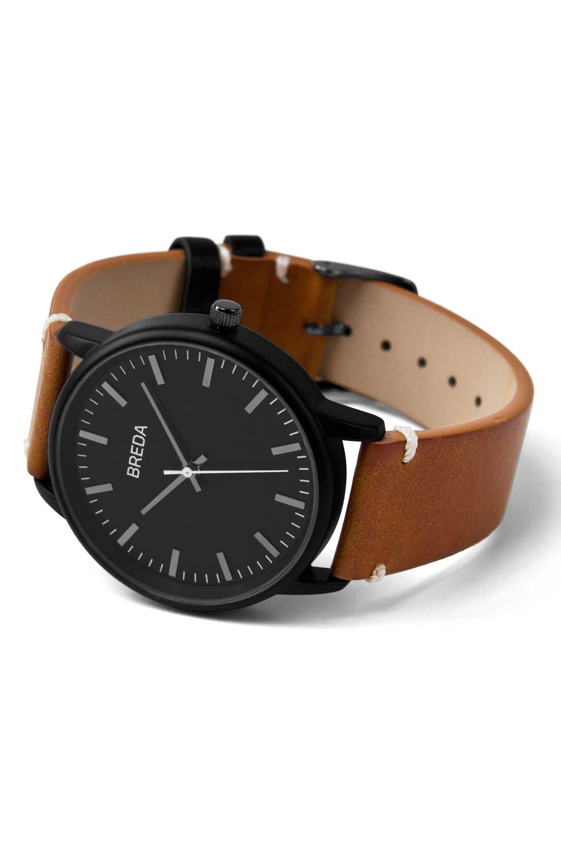 Alternate Image 2  - BREDA Zapf Round Leather Strap Watch, 39mm