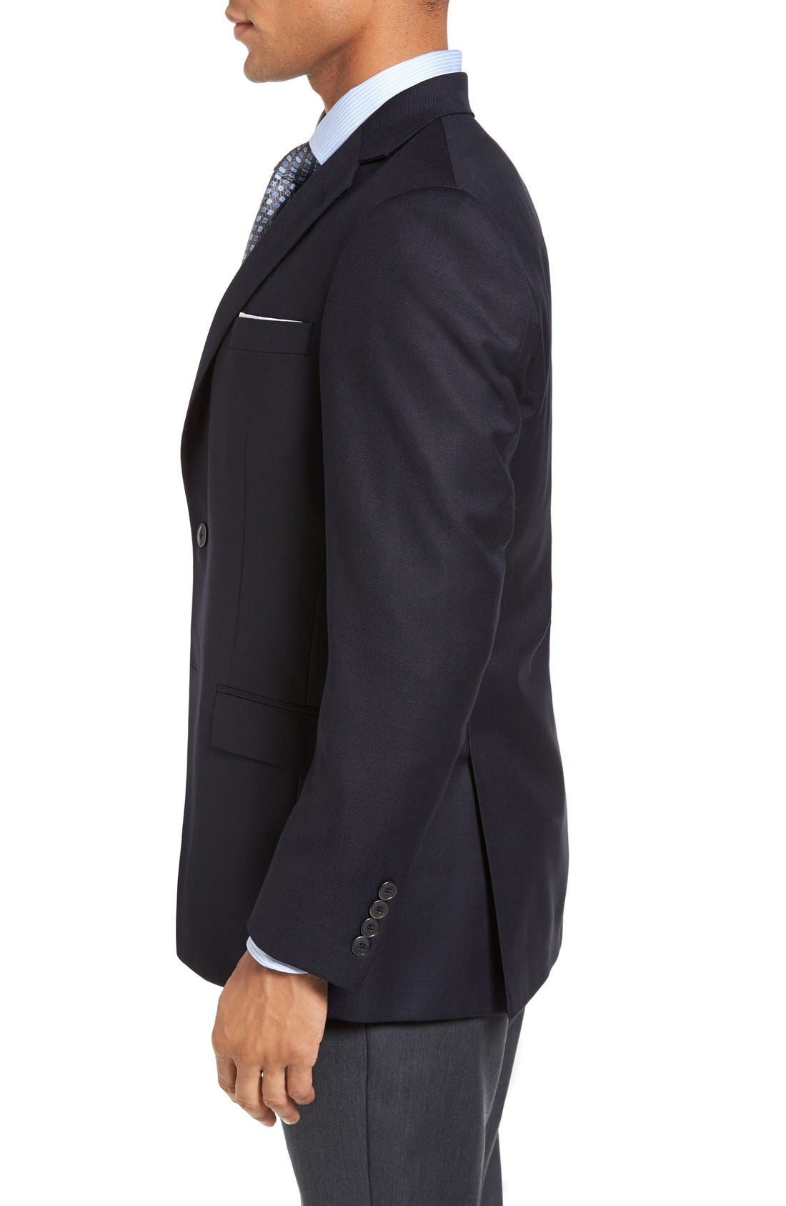 New York Classic Fit Wool Blend Blazer,                             Alternate thumbnail 3, color,                             Navy