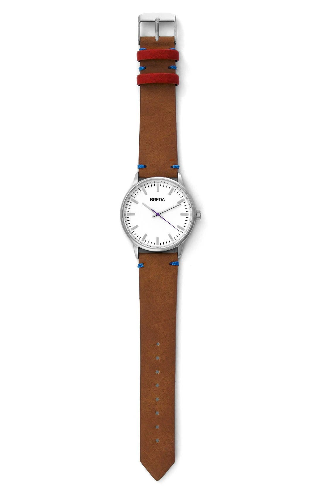 Alternate Image 3  - BREDA Zapf Leather Strap Watch, 39mm