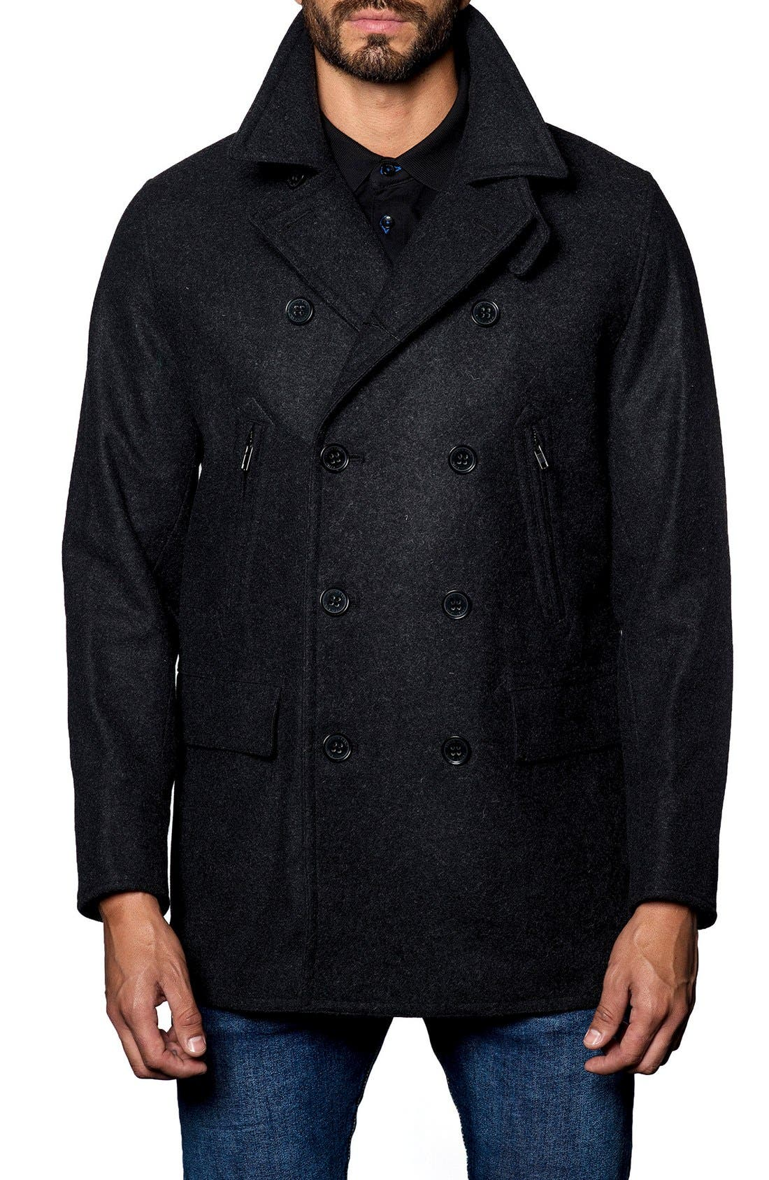 Wool Blend Double Breasted Peacoat,                         Main,                         color, Charcoal Flat Wool