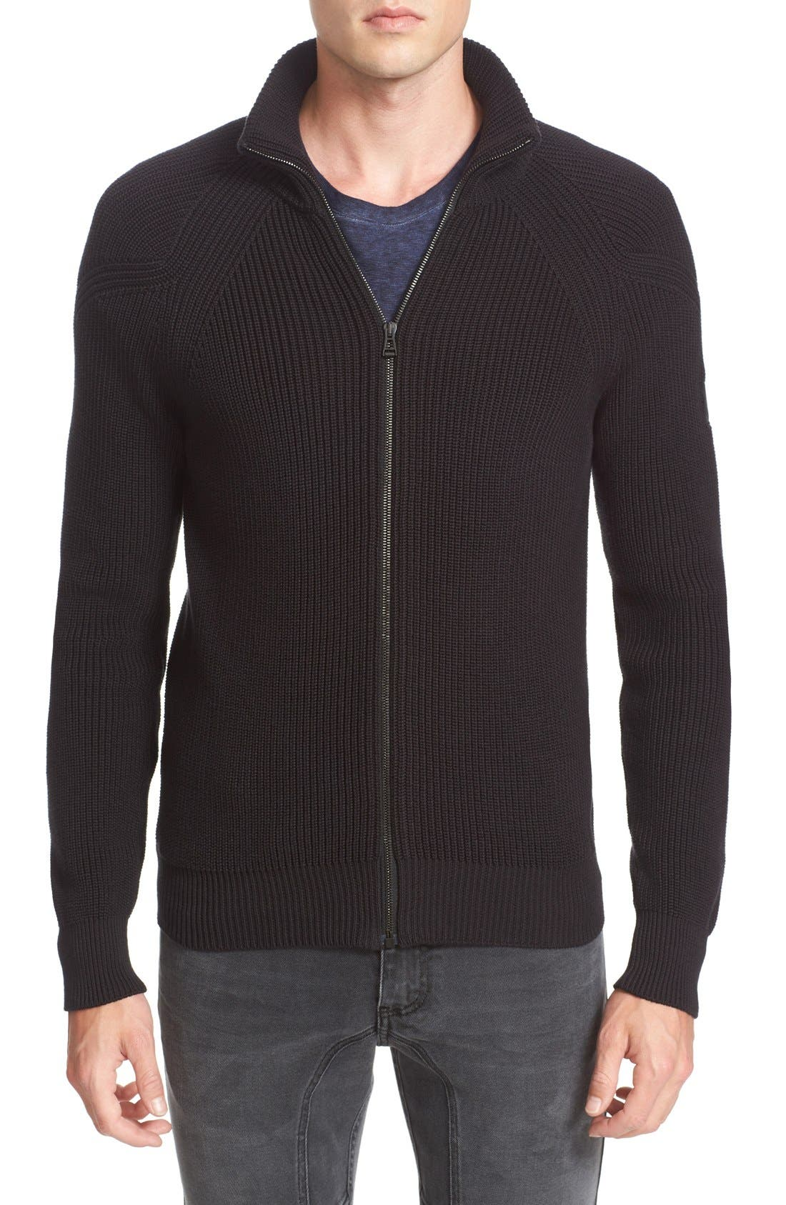 Belstaff Parkgate Zip Front Mock Neck Sweater