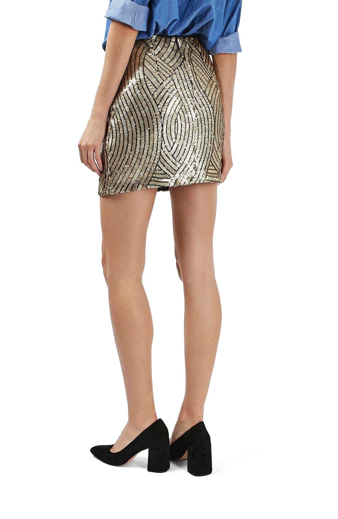 Psych Sequin Miniskirt,                             Alternate thumbnail 2, color,                             Gold Multi